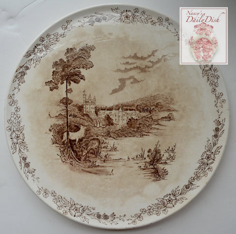 Brown Transferware Cloche Cake Platter Stag Deer Balmoral Castle