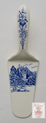 RARE Vintage English Staffordshire Blue & White Transferware Spatula Pastry or Pie Server