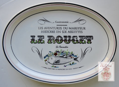 French Advertising Black Transferware Fish Platter Le Rouget Le Grondin Gastronomie
