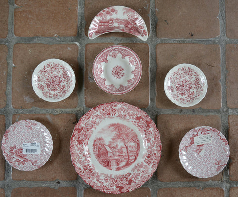 7 Mix n Match Vintage English China Red Transferware Plates Instant Wall Display or Collection