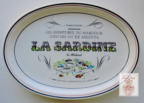 French Advertising Black Transferware La Sardine Le Pilchard Fish Platter Gastronomie