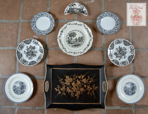 9 pc Mix n Match Vintage English China Black Transferware Plates & Tole Tray Instant Wall Display or Collection
