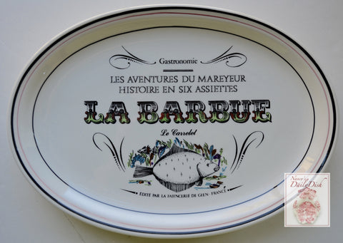 French Advertising Black Transferware La Barbue Le Carrelet Fish Platter Gastronomie