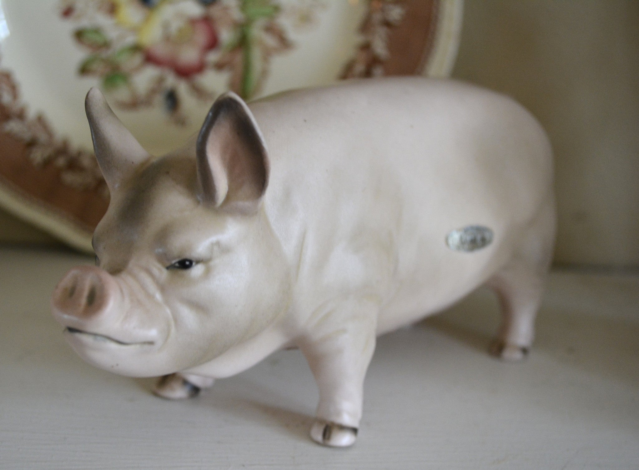 Vintage Country French Yorkshire Pig Hog Figurine Farmhouse Kitchen