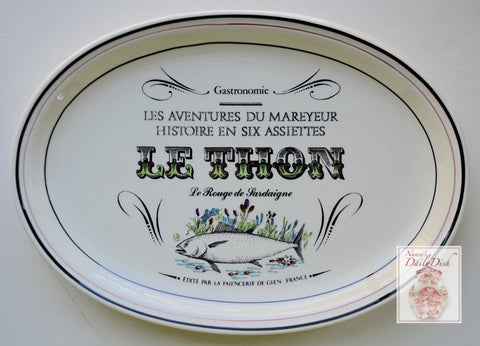 French Advertising Black Transferware Fish Platter Gastronomie Le Thon Le Rouge de Sardaigne