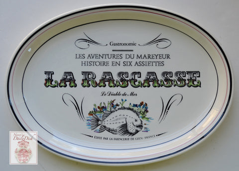 French Advertising Black Transferware Fish Platter La Rasgasse Gastronomie