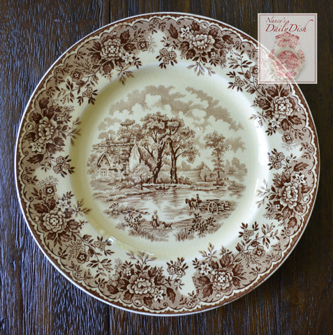 Brown Transferware Plate Little Girl & Her Dog European Cottage in the Country