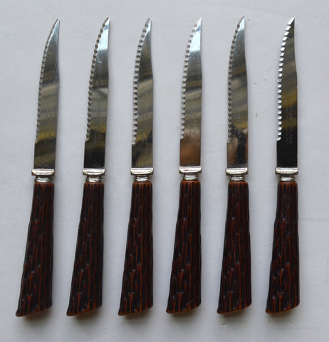 Set of 6 Faux Antler / Stag Adirondack Handle Sheffield English Stainless Steak Knives Regent England