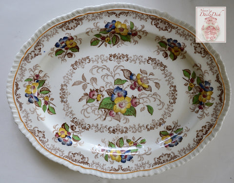Brown Transferware Platter Ridgways Dogwood / Yellow Red Blue Green Apple Blossoms Scrolls Flowers