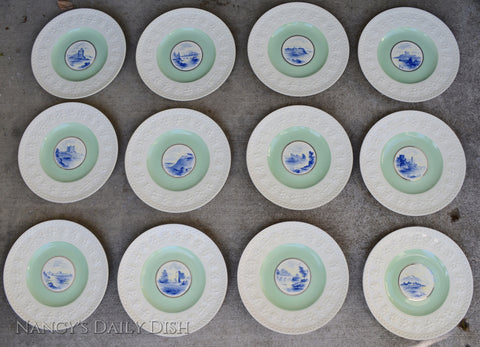 RARE set of 12 Wedgwood Embossed Hand Painted Blue & Mint Green Plates Castles All Different
