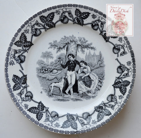 Antique Black Faience Transferware Plate Couple in Garden with Dog & Bird Strawberry Border no. 6