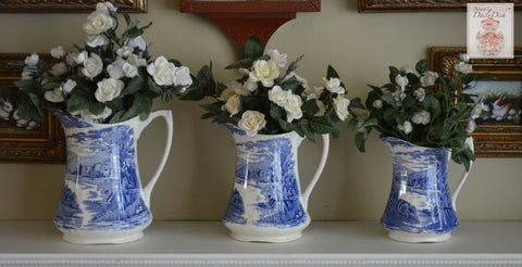 Set of 3 Graduating c1930's Vintage Pasture, Sheep & Cottages Blue Transferware Pitchers / Vase