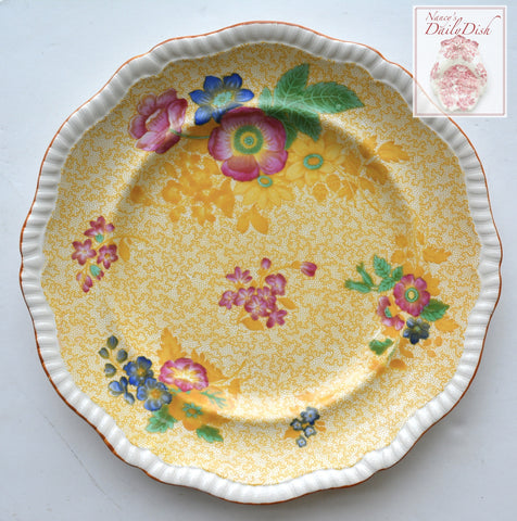 Spode Copeland Yellow Transferware Polychrome Flowers Charger or Dinner Plate