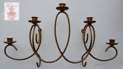 Vintage Antique Gold Finished Metal French 5 arm Candelabra Candle Wall Sconce (2 available)