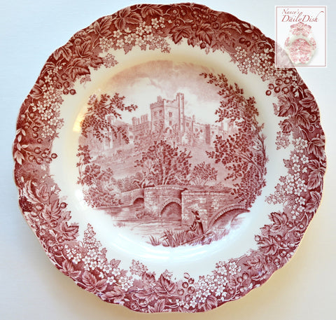 Red Transferware Plate Bridge Castle Fisherman Toile Plate - Fishing Scene - English Transferware
