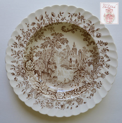Cascading Waterfall Royal Staffordshire Brown English Transferware Rimmed Bowl Peaceful Summer