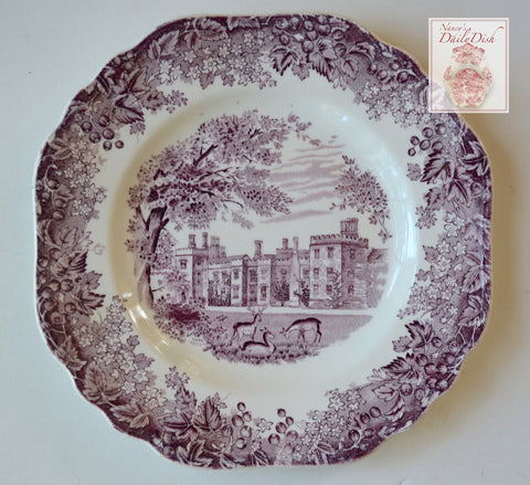 Vintage English China Square Purple Transferware Plate Romantic England Grazing Deer Penshurst Place