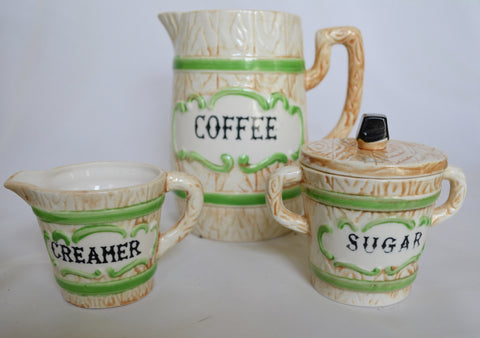 Vintage Faux Bois  Black Transferware Advertising Sugar & Creamer Wood Grain  Details