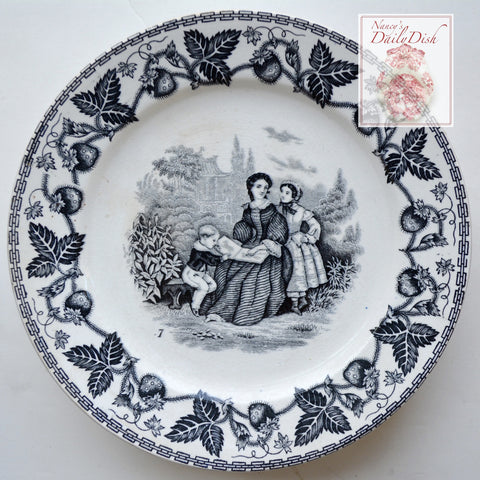 Antique Black Faience Transferware Plate Victorian Mother Reading to Son w/ Strawberry Border no. 7