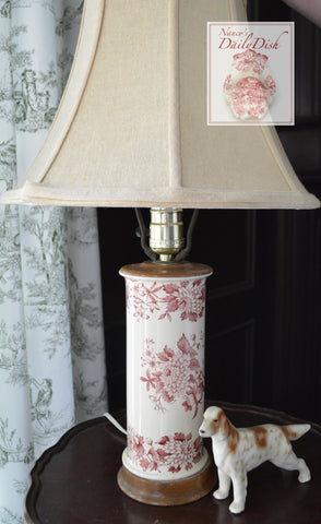 Copeland Spode Vintage English Red Transferware Floral Lamp Aster Flowers