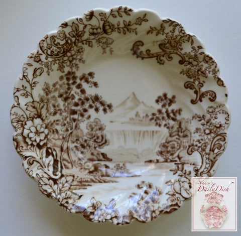 Peaceful Summer Brown English Transferware Candy Bowl / Trinket Dish Cascading Waterfall