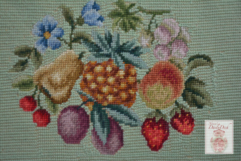 Light Green Antique Needlepoint on Board Bouquet of Fruits & Flowers - French Country Kitchen