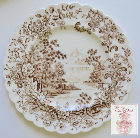 Peaceful Summer Brown English Transferware Bread Plate Cascading Waterfall