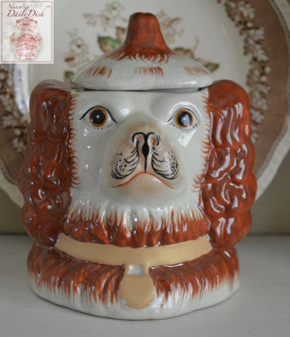 Vintage Staffordshire Spaniel Brown Dog Head Jar Canister Figurine  - English Country Decor