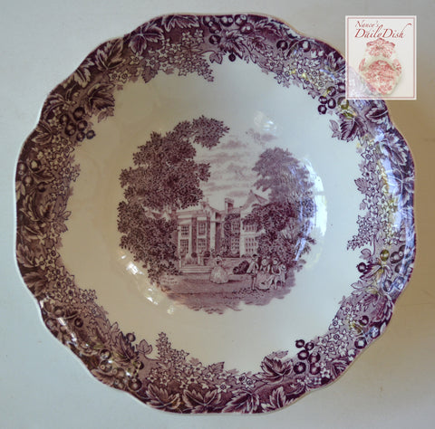 Vintage English China Purple Transferware Chequers Bowl Romantic England