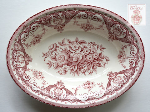 Pink / Red  Vintage English Transferware Oval Serving Bowl Shabby Victorian Roses and Scrolls