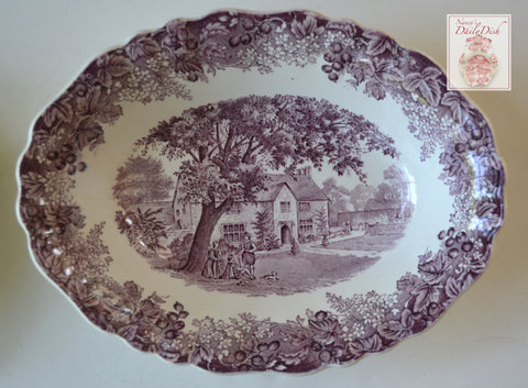 Vintage English Purple Transferware Oval Serving Vegetable Bowl Romantic England