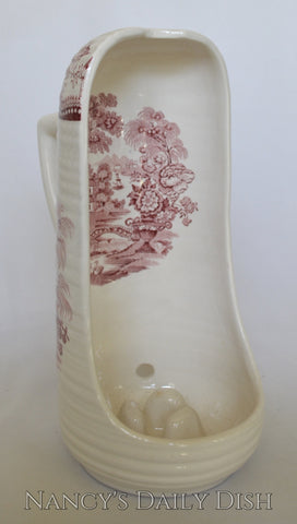 Vintage Tonquin Red Transferware Victorian Style Hand Held Candle Lantern Clarice Cliff Royal Staffordshire