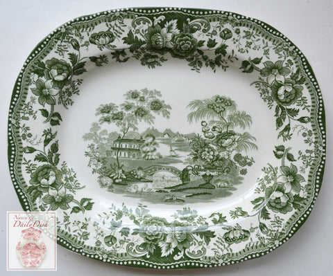 Green Transferware Tonquin Platter Scenic Sailboat Swans and Roses Clarice Cliff Staffordshire Vintage