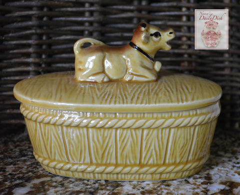 Vintage Majolica Butter Barrel Faux Bois Wood Barrel w/ Resting Advertising Jersey Cow Lid Top