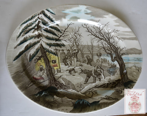 Royal Staffordshire Thanksgiving Landing of the Pilgrims English Transferware Platter
