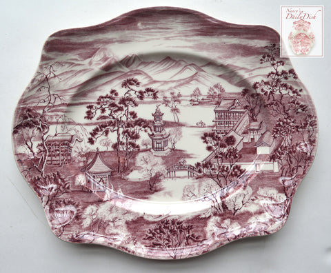 Purple Plum Chinoiserie Transferware Serving Platter Enchanted Garden Pagoda Alpine Scenery Blue Willow