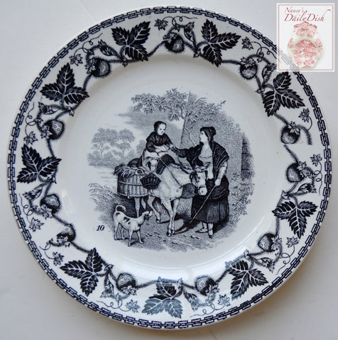 Antique Faience Black Transferware Plate Peasant Girl with Dog  w/ Strawberry Border no. 10