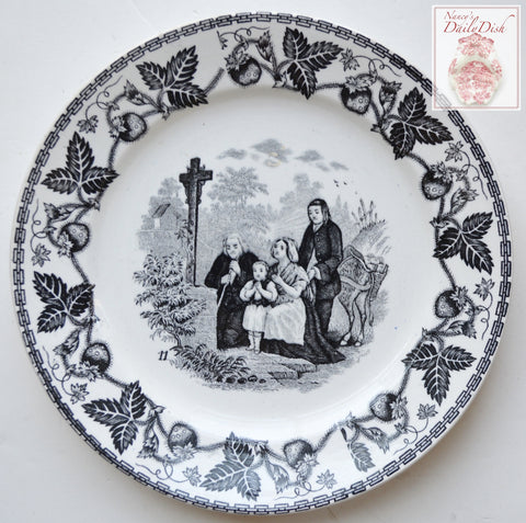 Antique Faience Black Transferware Plate Praying Family w/ Strawberry Border no. 11