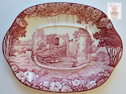 Vintage Red Transferware Tab Handled Platter Berry Pickers Roses Bodiam Castle Circa 1930