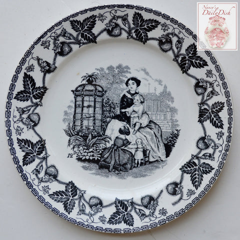 Antique Faience Black Transferware Plate Mother & Children in Garden with Birdcage w/ Strawberry Border no. 12