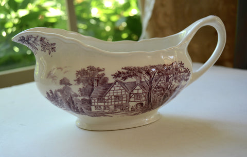 Vintage English China Purple Transferware Gravy Sauce Boat Romantic England