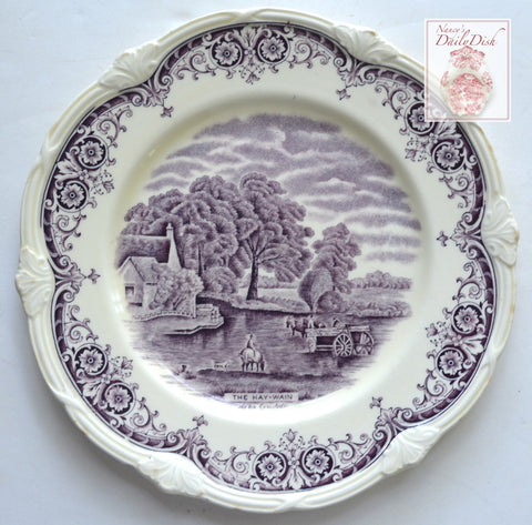 Scenes After Constable Lavender Purple English Transferware Plate The Hay-Wain Horses Farm England
