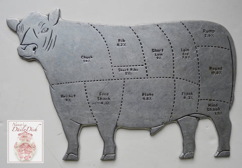Vintage French Butcher Shop Silver Pewter Cow Plaque Sign with Meat Cuts Farmhouse Kitchen