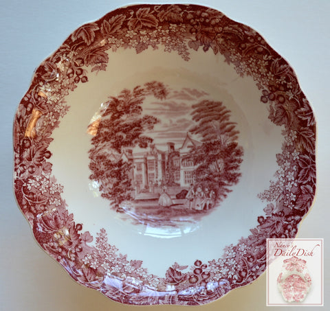 Vintage English China Red Transferware Chequers Bowl Romantic England