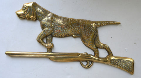 Vintage Brass Hunting Dog Plaque Sign Hunt Scene Decor Over Door or Painting Topper