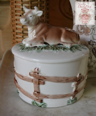 Tall Lg. Vintage Majolica  Butter Tub Faux Bois Wood Barrel with Resting Cow Lid Top
