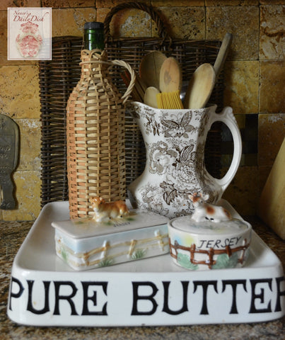 Vintage English Advertising Butter Tub Faux Bois Wood Fence with Spotted Resting Jersey Cow Lid Top