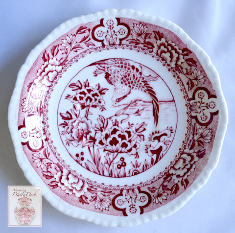 Red Aesthetic Chinoiserie English Transferware Plate Aquila Eagle in Flight Oriental Flowers Woods
