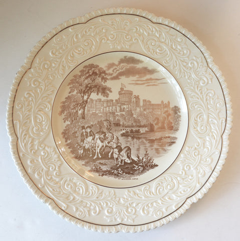 Vintage Gold English Transferware Charger Round Platter Embossed Border Hunt Scene Windsor Castle