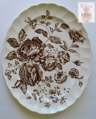 Vintage Brown & White Toile English Ironstone Transferware Platter w/ Cabbage Roses